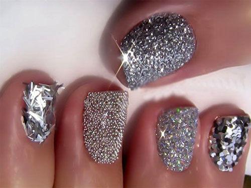 Nail art glitter argento