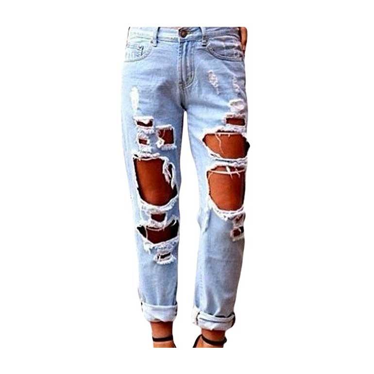 Jeans Donna Strappato Buco Lavato 2019