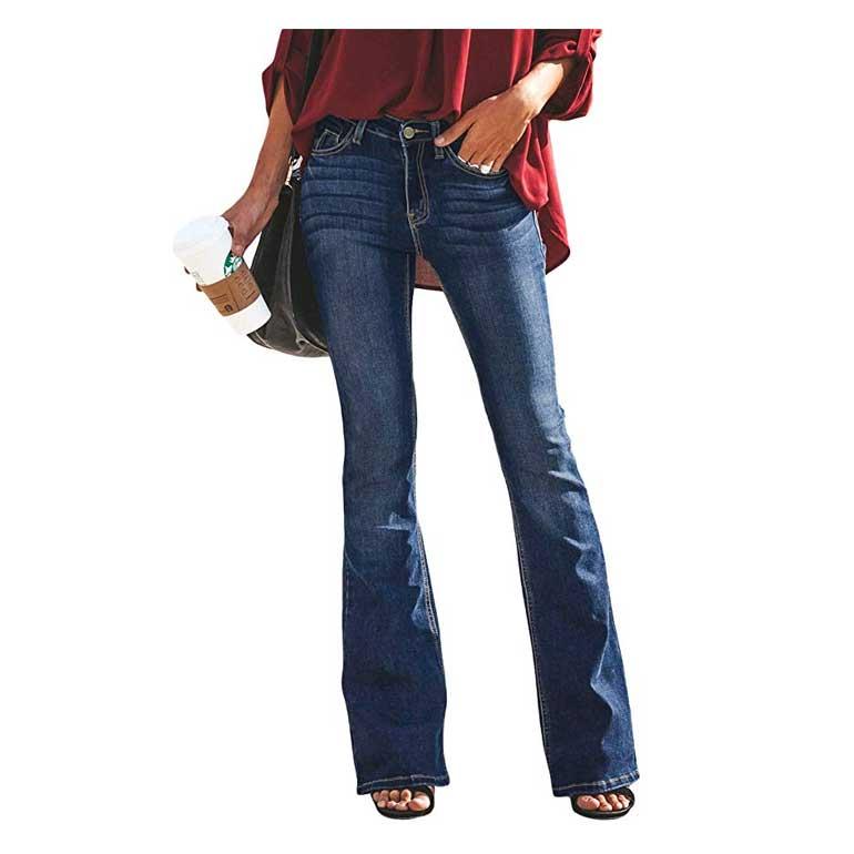 Jeans a Zampa Pantaloni a Vita Alta Elasticizzati Donna