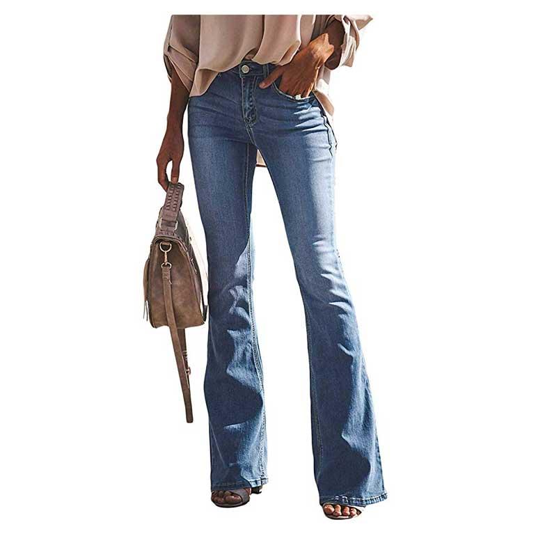 Jeans a Zampa Pantaloni a Vita Alta
