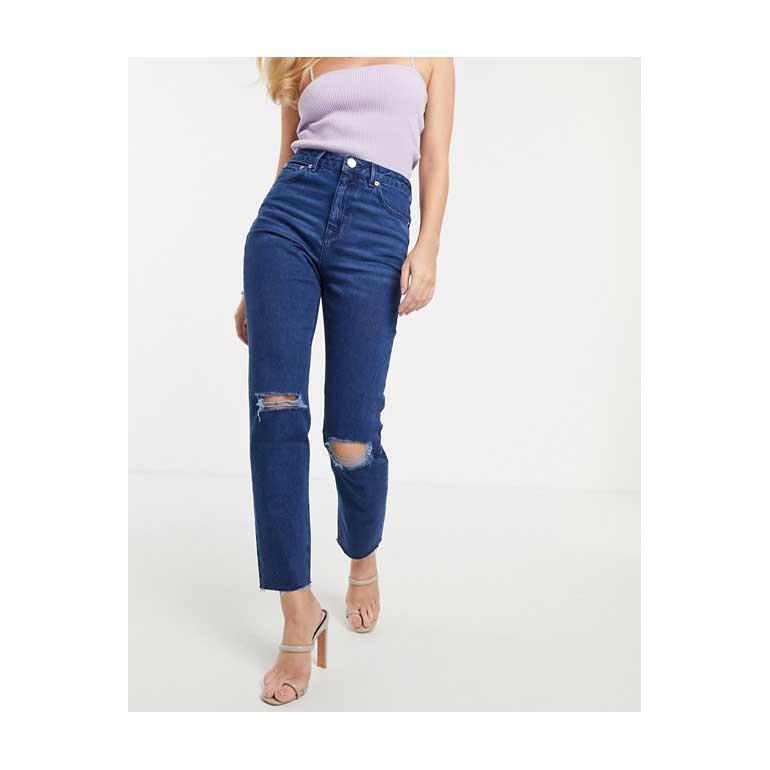 Mom jeans slim a vita alta Farleigh lavaggio blu acceso con strappi e fondo grezzo