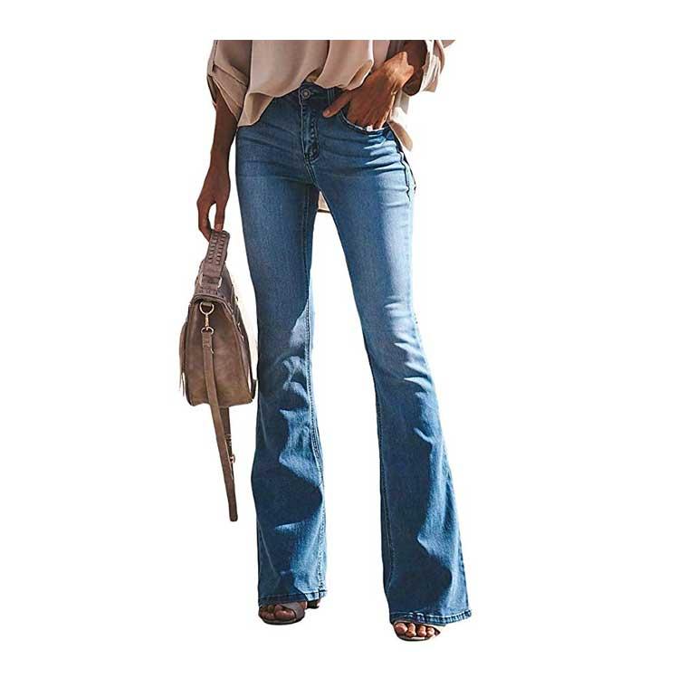 OranDesigne Donne Jeans a Zampa di Elefante Moda a vita alta elasticizzati