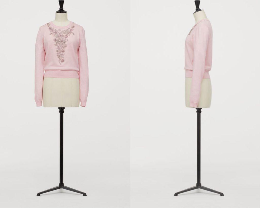 pullover rosa pastello con strass Giambattista Valli