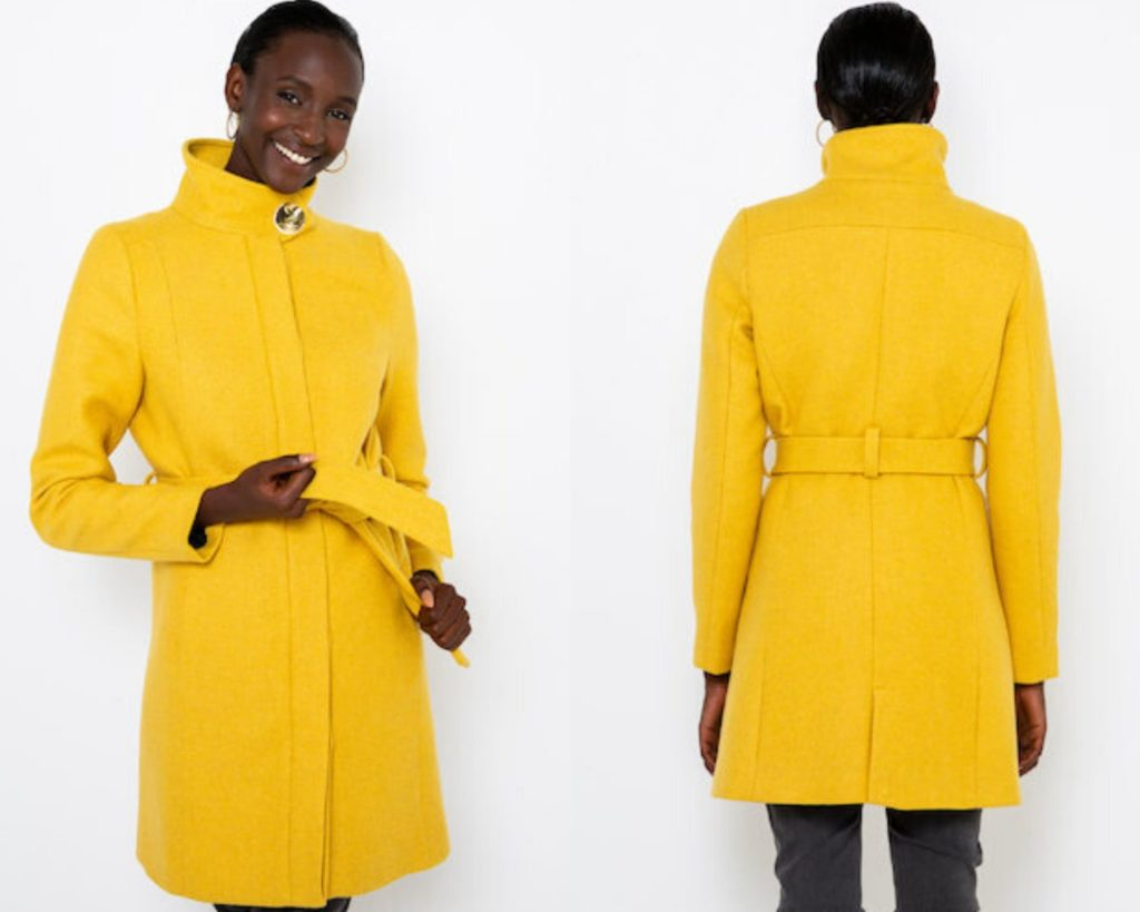 cappotto corto giallo di Camaieu in maglia moulinè