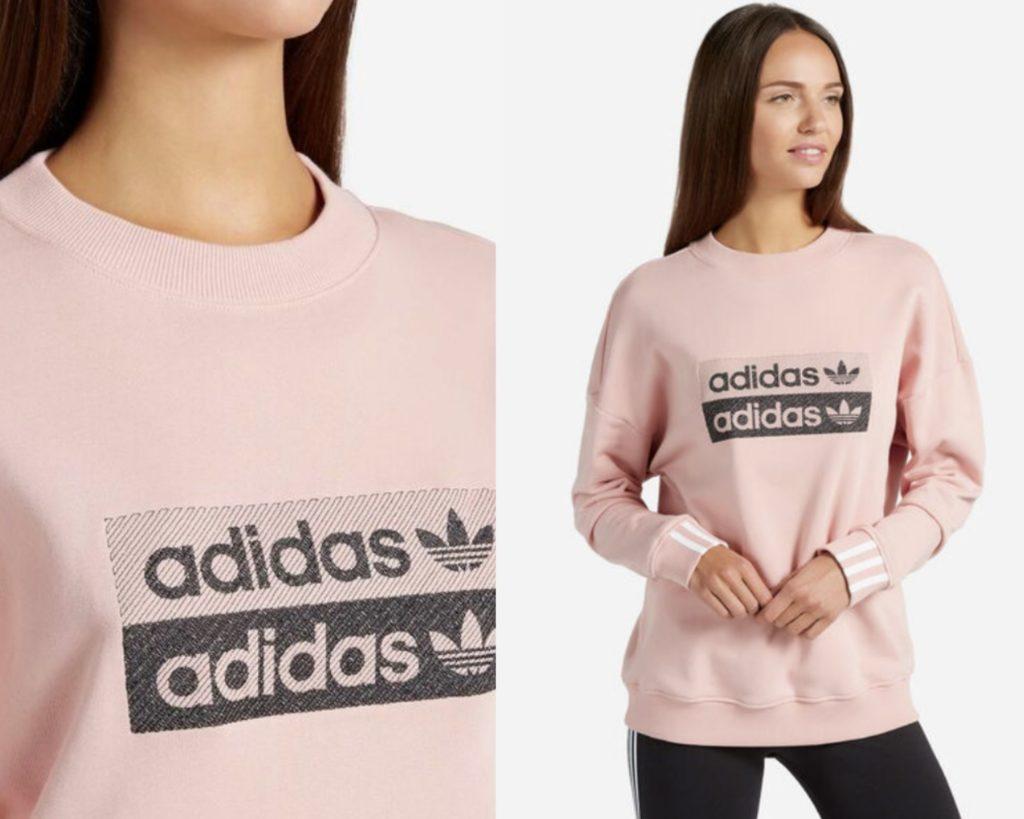 felpa Adidas rosa con doppio logo