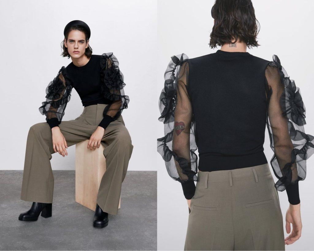 maglione lavorato a maglia con scollo rotondo di Zara.