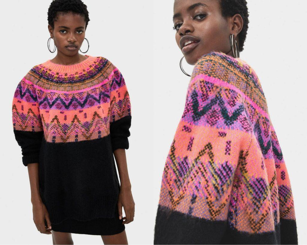 tonalità appariscenti le geometrie del maglione di Bershka