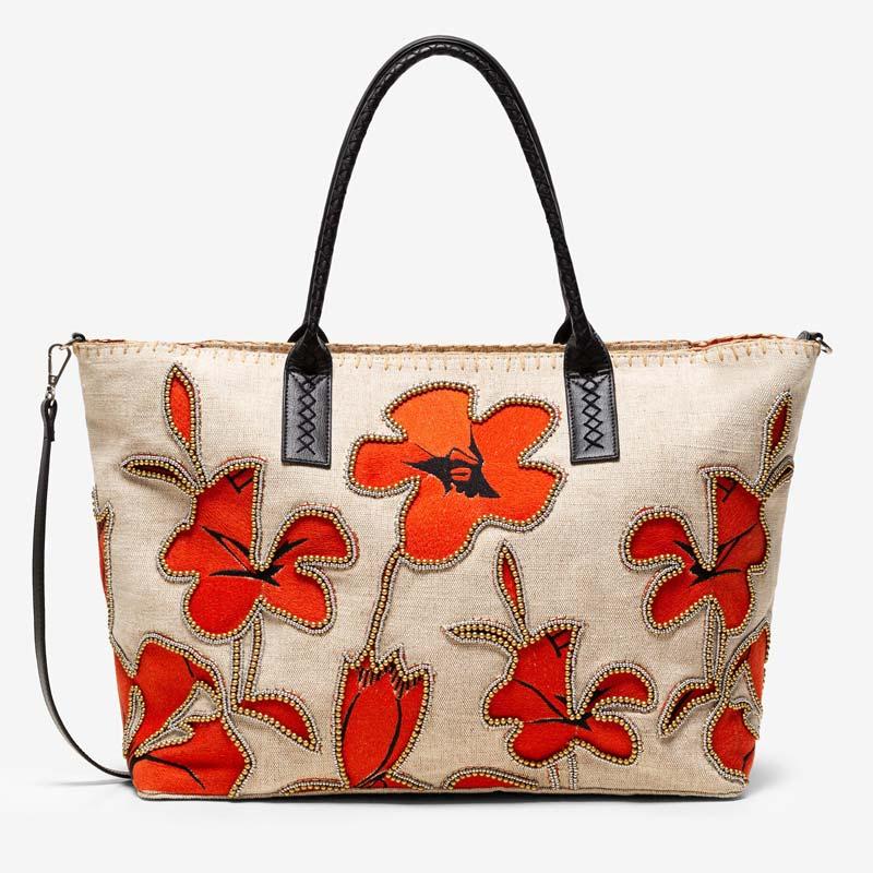 Shopping bag con fiori di ibisco