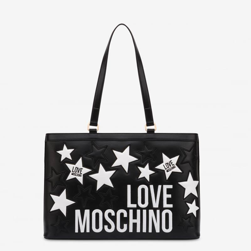 Shopper Moschino con stelle e logo