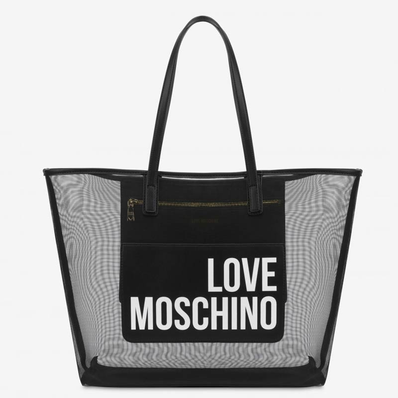 Shopper Moschino in rete trasparente