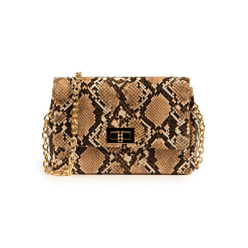 Tracolla beige in ecopelle snake print